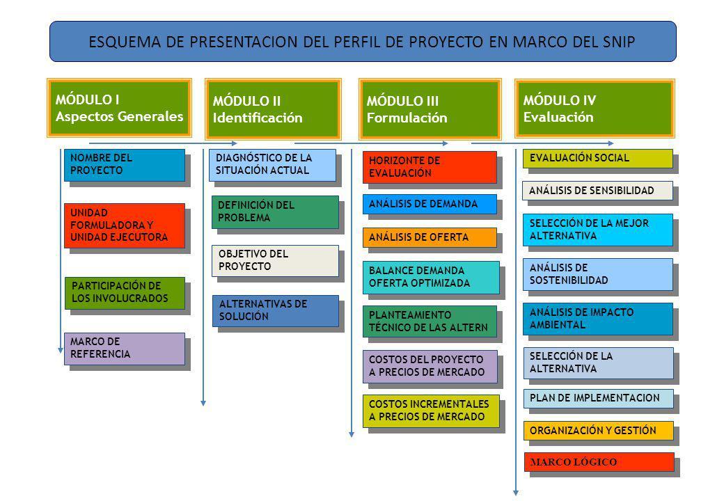 ESQUEMA DE PRESENTACION DEL PERFIL DE PROYECTO EN MARCO DEL SNIP NOMBRE DEL PROYECTO UNIDAD FORMULADORA Y UNIDAD EJECUTORA PARTICIPACIÓN DE LOS INVOLUCRADOS DIAGNÓSTICO DE LA SITUACIÓN ACTUAL DEFINICIÓN DEL PROBLEMA ALTERNATIVAS DE SOLUCIÓN ANÁLISIS DE DEMANDA ANÁLISIS DE OFERTA BALANCE DEMANDA OFERTA OPTIMIZADA HORIZONTE DE EVALUACIÓN COSTOS DEL PROYECTO A PRECIOS DE MERCADO PLANTEAMIENTO TÉCNICO DE LAS ALTERN EVALUACIÓN SOCIAL ANÁLISIS DE IMPACTO AMBIENTAL ANÁLISIS DE SOSTENIBILIDAD SELECCIÓN DE LA MEJOR ALTERNATIVA ANÁLISIS DE SENSIBILIDAD COSTOS INCREMENTALES A PRECIOS DE MERCADO MARCO LÓGICO MÓDULO I Aspectos Generales OBJETIVO DEL PROYECTO MÓDULO II Identificación MÓDULO III Formulación MÓDULO IV Evaluación MARCO DE REFERENCIA SELECCIÓN DE LA ALTERNATIVA PLAN DE IMPLEMENTACION ORGANIZACIÓN Y GESTIÓN
