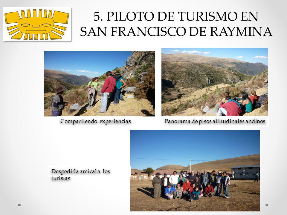 5. PILOTO DE TURISMO EN SAN FRANCISCO DE RAYMINA Despedida amical a los turistas Panorama de pisos altitudinales andinos Compartiendo experiencias