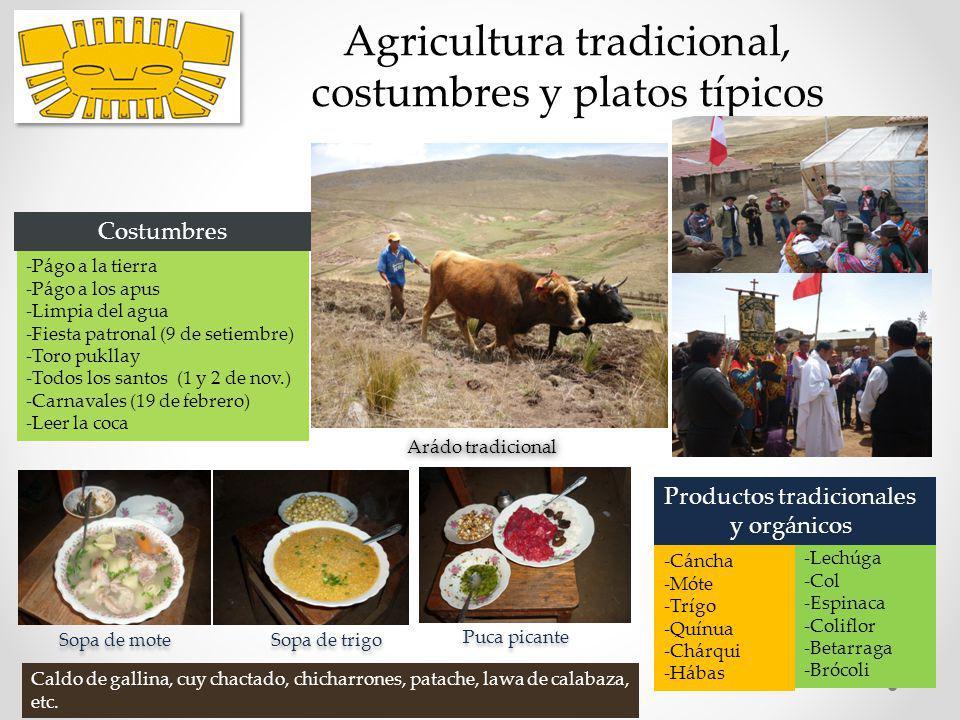 Agricultura tradicional, costumbres y platos típicos Sopa de mote Puca picante Sopa de trigo Arádo tradicional -Cáncha -Móte -Trígo -Quínua -Chárqui -