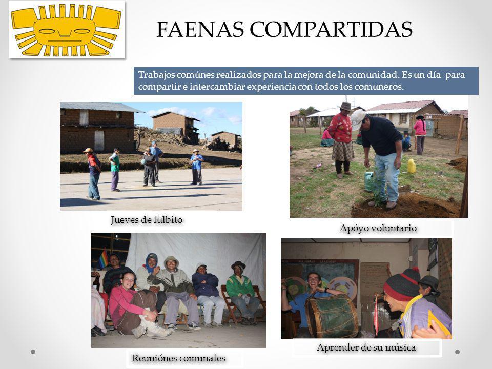 FAENAS COMPARTIDAS Jueves de fulbito Apóyo voluntario Reuniónes comunales Aprender de su música Trabajos comúnes realizados para la mejora de la comun