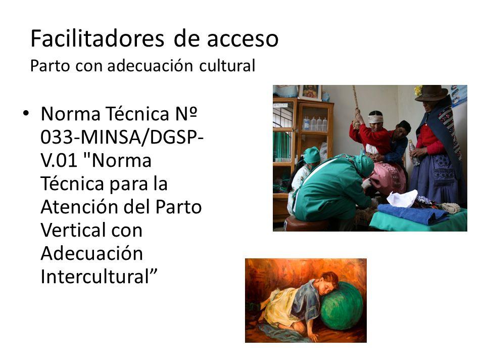 Norma Técnica Nº 033-MINSA/DGSP- V.01 Norma Técnica para la Atención del Parto Vertical con Adecuación Intercultural Facilitadores de acceso Parto con adecuación cultural