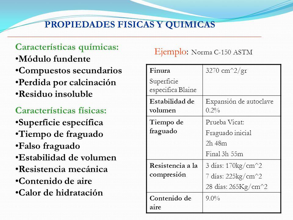 PROPIEDADES FISICAS Y QUIMICAS Características químicas: Módulo fundente Compuestos secundarios Perdida por calcinación Residuo insoluble Características físicas: Superficie específica Tiempo de fraguado Falso fraguado Estabilidad de volumen Resistencia mecánica Contenido de aire Calor de hidratación Ejemplo: Norma C-150 ASTM Finura Superficie especifica Blaine 3270 cm^2/gr Estabilidad de volumen Expansión de autoclave 0.2% Tiempo de fraguado Prueba Vicat: Fraguado inicial 2h 48m Final 3h 55m Resistencia a la compresión 3 días: 170kg/cm^2 7 días: 225kg/cm^2 28 días: 265Kg/cm^2 Contenido de aire 9.0%