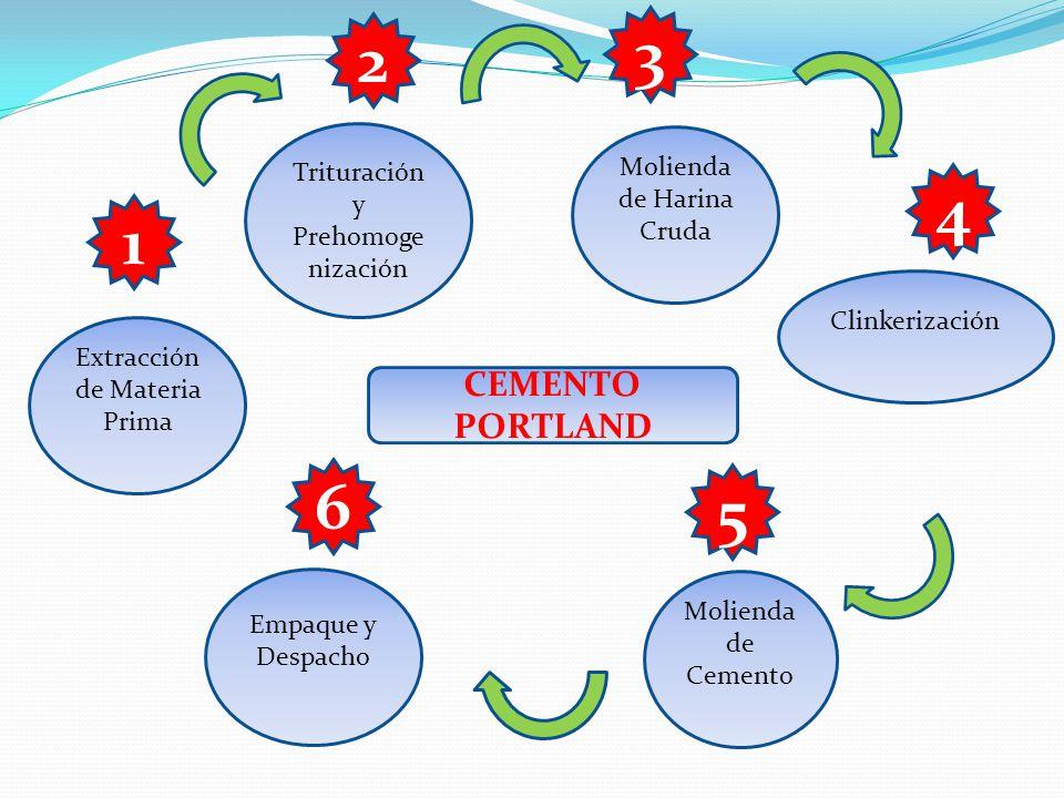 CEMENTO PORTLAND Extracción de Materia Prima Trituración y Prehomoge nización Molienda de Harina Cruda Clinkerización Molienda de Cemento Empaque y Despacho 1 2 3 4 5 6