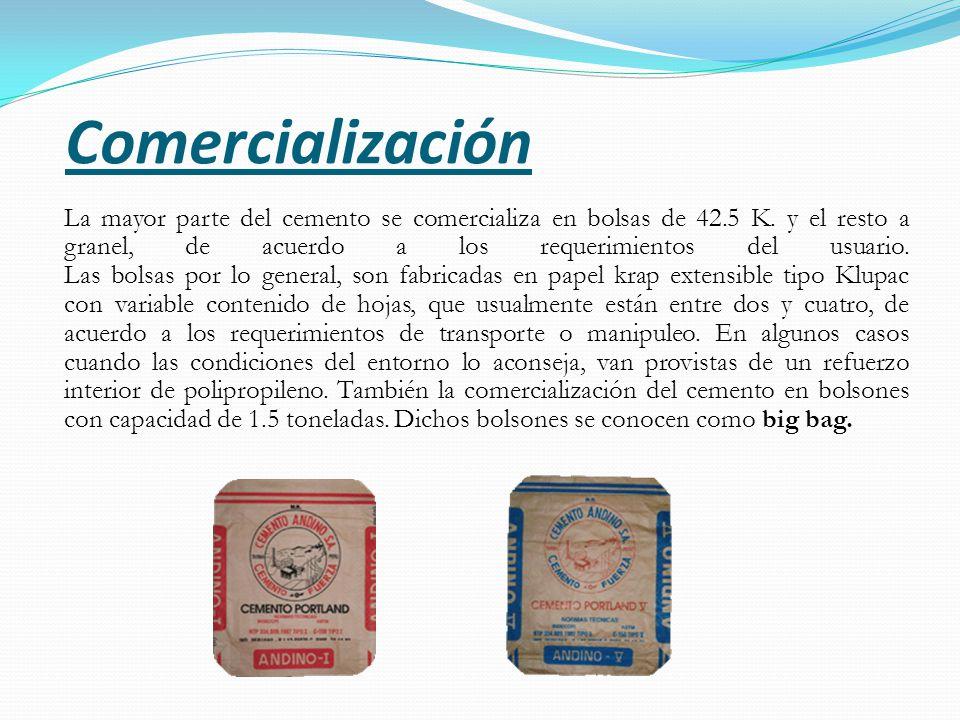 La mayor parte del cemento se comercializa en bolsas de 42.5 K.