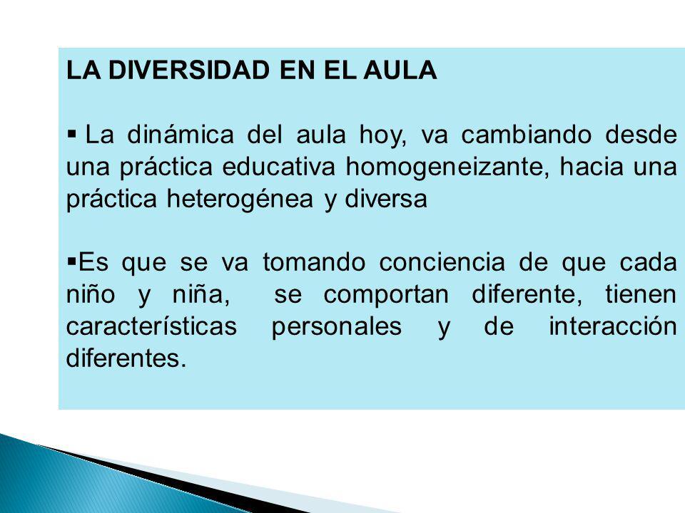 LA DIVERSIDAD EN EL AULA La dinámica del aula hoy, va cambiando desde una práctica educativa homogeneizante, hacia una práctica heterogénea y diversa