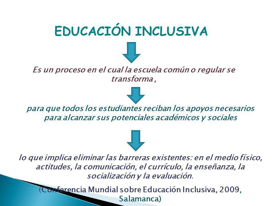 EDUCACIÓN INCLUSIVA Es un proceso en el cual la escuela común o regular se transforma, para que todos los estudiantes reciban los apoyos necesarios pa