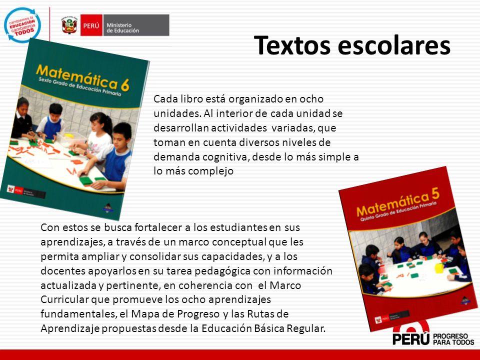 Textos escolares Cada libro está organizado en ocho unidades. Al interior de cada unidad se desarrollan actividades variadas, que toman en cuenta dive