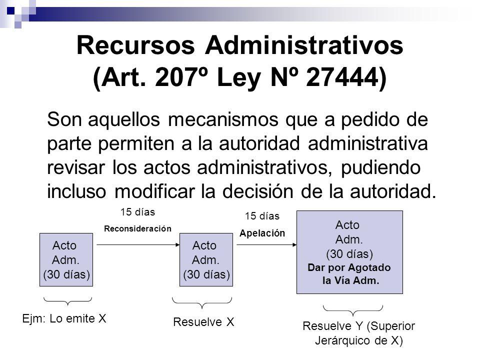 Recursos Administrativos (Art. 207º Ley Nº 27444) Son aquellos mecanismos que a pedido de parte permiten a la autoridad administrativa revisar los act