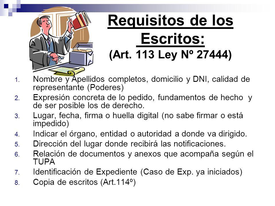 1. Nombre y Apellidos completos, domicilio y DNI, calidad de representante (Poderes) 2. Expresión concreta de lo pedido, fundamentos de hecho y de ser