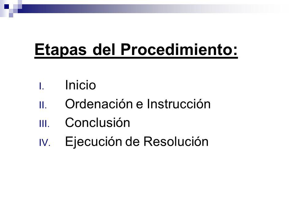 I. Inicio II. Ordenación e Instrucción III. Conclusión IV. Ejecución de Resolución Etapas del Procedimiento:
