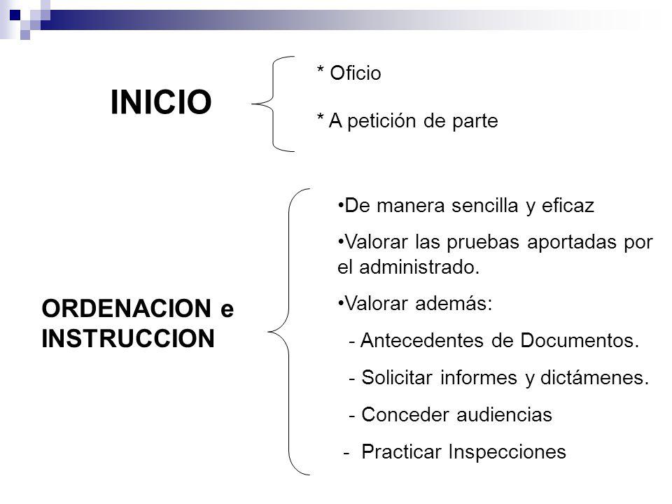 * Oficio * A petición de parte INICIO ORDENACION e INSTRUCCION De manera sencilla y eficaz Valorar las pruebas aportadas por el administrado. Valorar