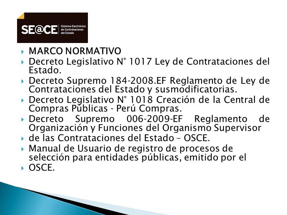 MARCO NORMATIVO Decreto Legislativo N° 1017 Ley de Contrataciones del Estado.