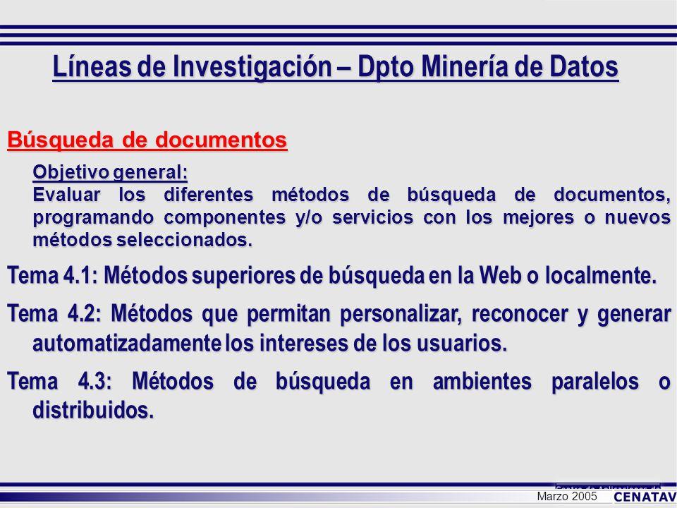 Marzo 2005 Búsqueda de documentos Objetivo general: Evaluar los diferentes métodos de búsqueda de documentos, programando componentes y/o servicios co
