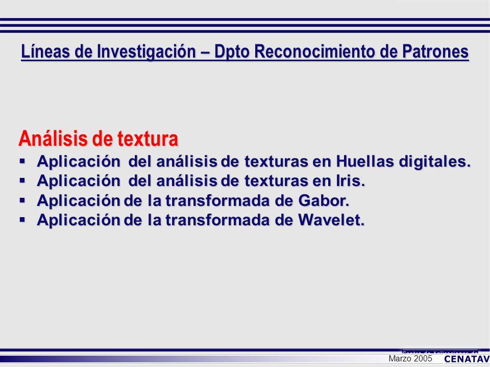 Marzo 2005 Análisis de textura Aplicación del análisis de texturas en Huellas digitales. Aplicación del análisis de texturas en Huellas digitales. Apl