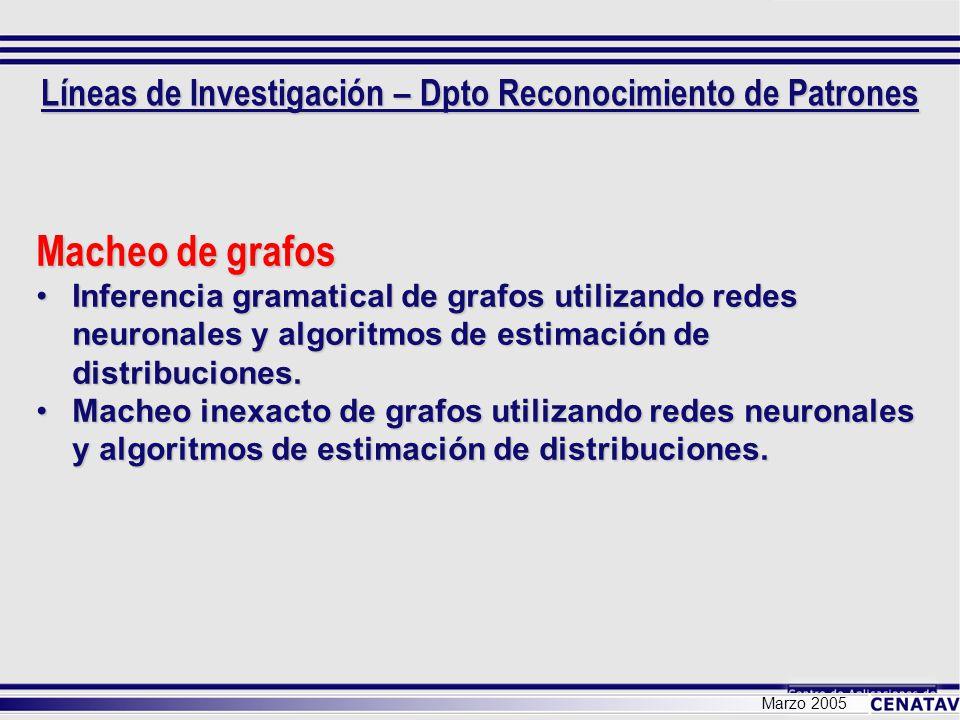 Marzo 2005 Macheo de grafos Inferencia gramatical de grafos utilizando redes neuronales y algoritmos de estimación de distribuciones.Inferencia gramat