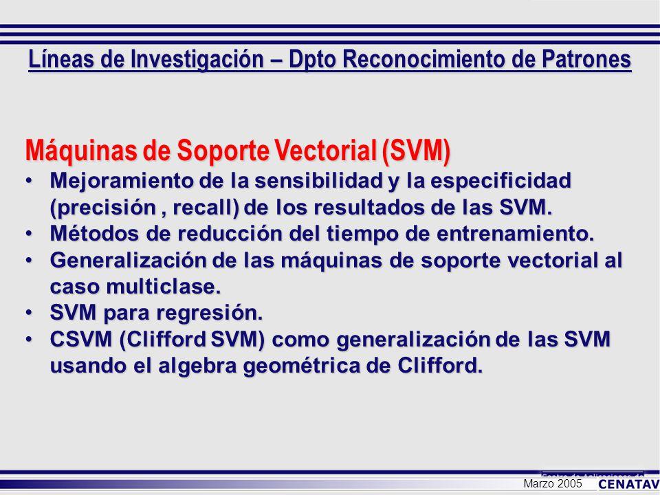 Marzo 2005 Máquinas de Soporte Vectorial (SVM) Mejoramiento de la sensibilidad y la especificidad (precisión, recall) de los resultados de las SVM.Mej