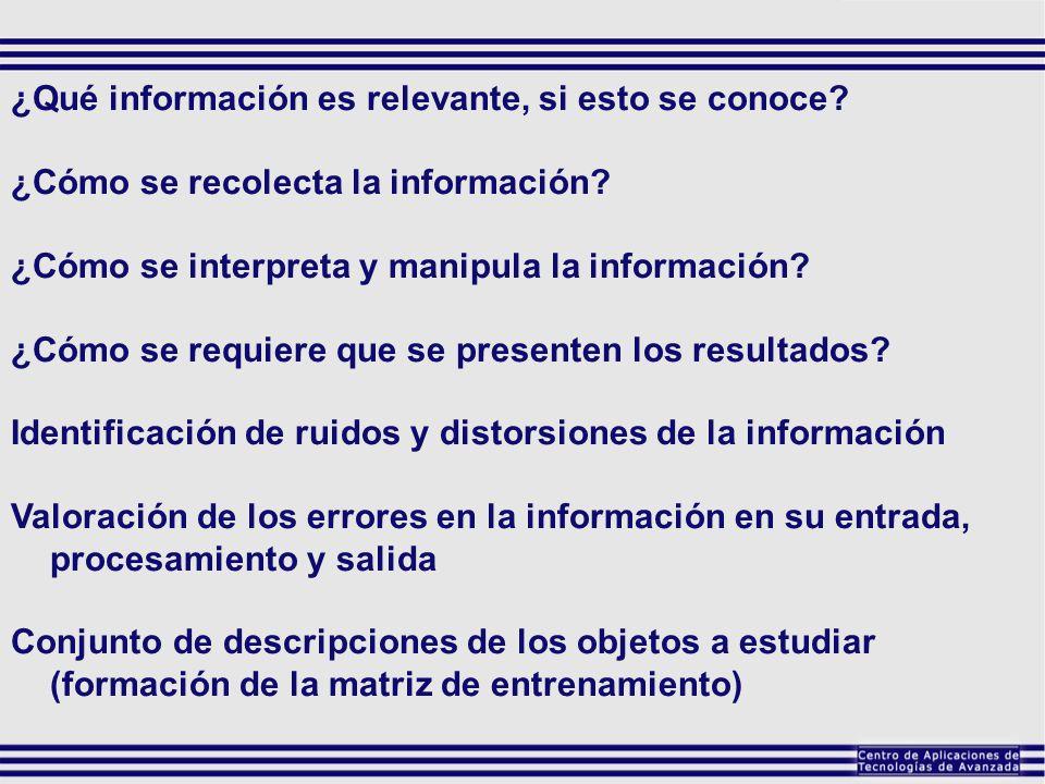 ¿Qué información es relevante, si esto se conoce? ¿Cómo se recolecta la información? ¿Cómo se interpreta y manipula la información? ¿Cómo se requiere