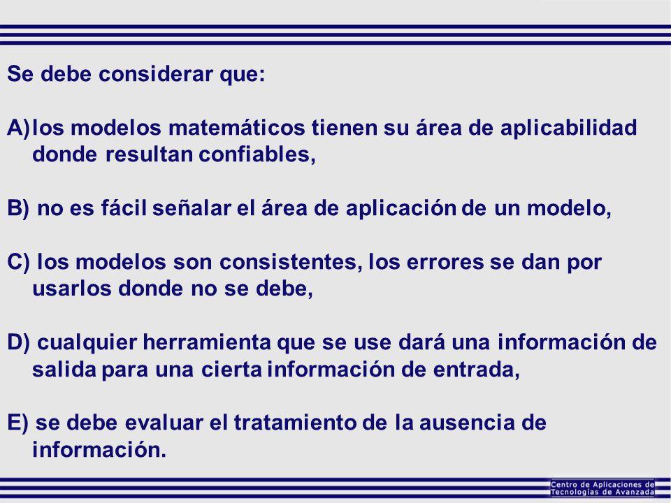 Se debe considerar que: A)los modelos matemáticos tienen su área de aplicabilidad donde resultan confiables, B) no es fácil señalar el área de aplicac