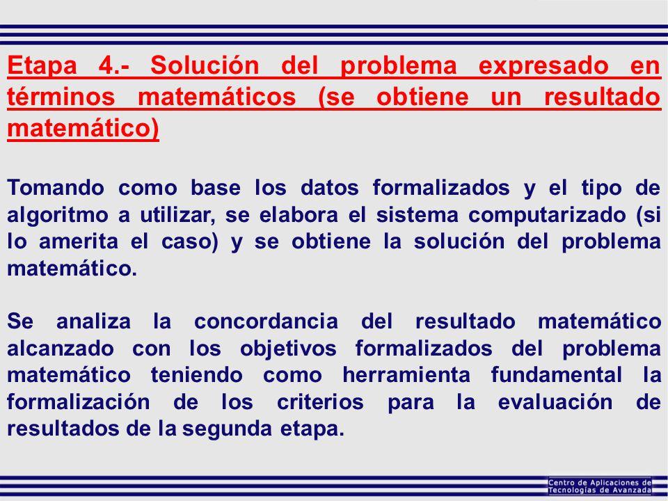 Etapa 4.- Solución del problema expresado en términos matemáticos (se obtiene un resultado matemático) Tomando como base los datos formalizados y el t