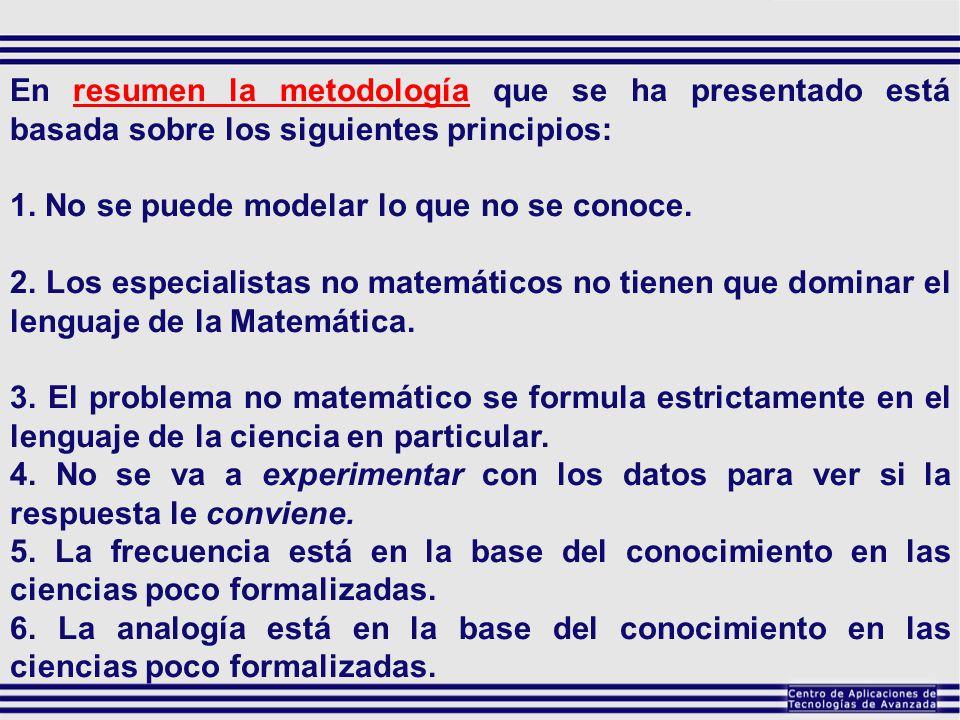 En resumen la metodología que se ha presentado está basada sobre los siguientes principios: 1. No se puede modelar lo que no se conoce. 2. Los especia