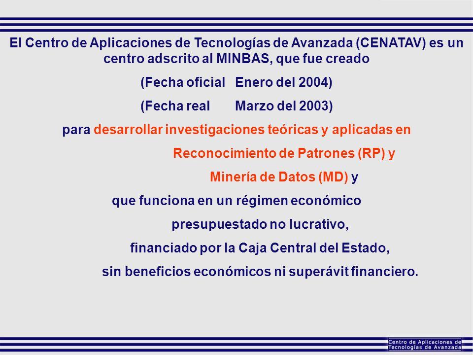 El Centro de Aplicaciones de Tecnologías de Avanzada (CENATAV) es un centro adscrito al MINBAS, que fue creado (Fecha oficialEnero del 2004) (Fecha re