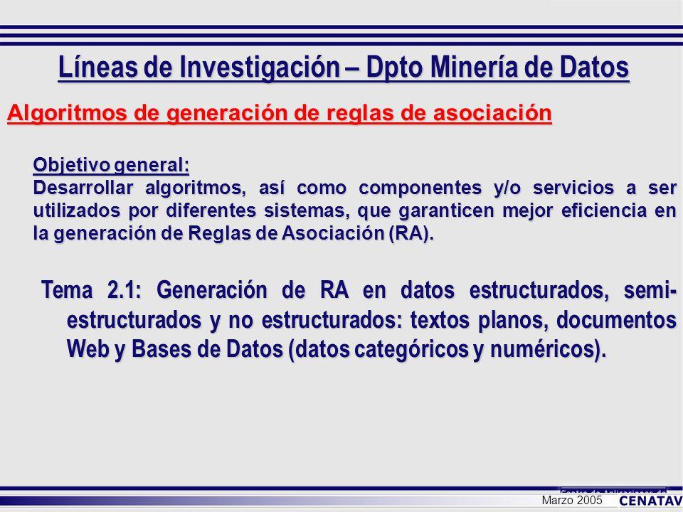 Marzo 2005 Algoritmos de generación de reglas de asociación Objetivo general: Desarrollar algoritmos, así como componentes y/o servicios a ser utiliza