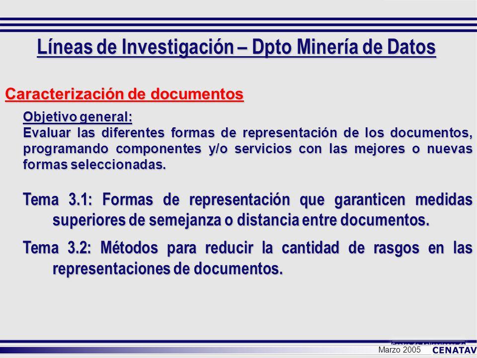 Marzo 2005 Búsqueda de documentos Objetivo general: Evaluar los diferentes métodos de búsqueda de documentos, programando componentes y/o servicios con los mejores o nuevos métodos seleccionados.