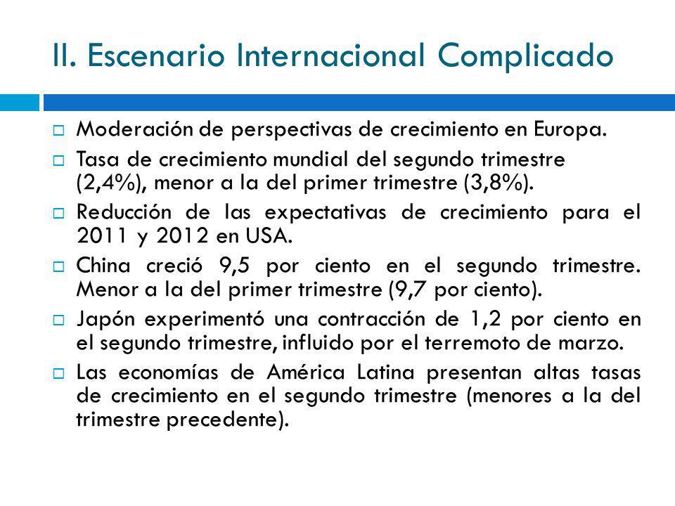 II. Escenario Internacional Complicado Moderación de perspectivas de crecimiento en Europa. Tasa de crecimiento mundial del segundo trimestre (2,4%),