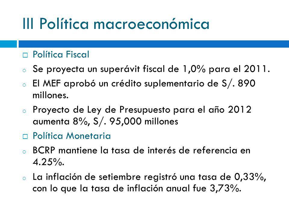 III Política macroeconómica Política Fiscal o Se proyecta un superávit fiscal de 1,0% para el 2011. o El MEF aprobó un crédito suplementario de S/. 89