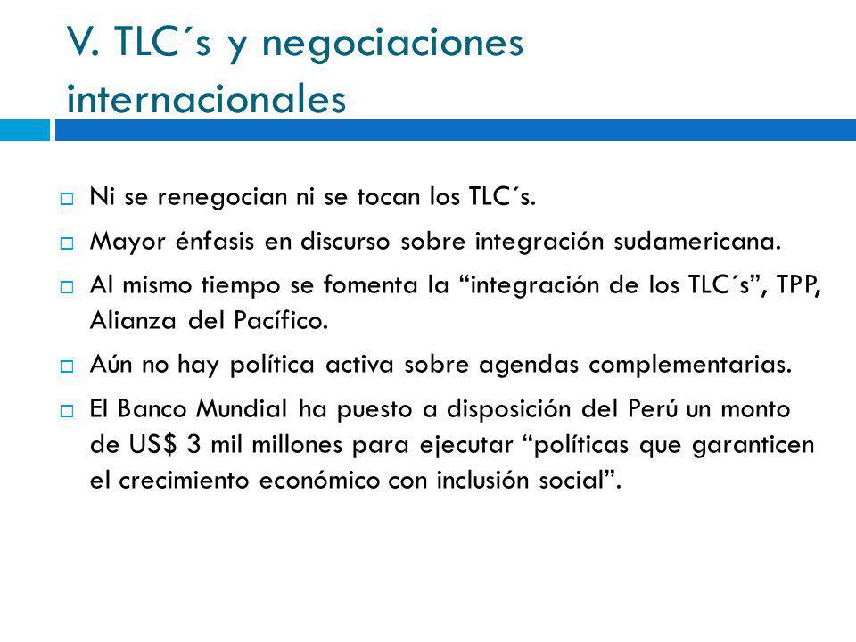 V. TLC´s y negociaciones internacionales Ni se renegocian ni se tocan los TLC´s. Mayor énfasis en discurso sobre integración sudamericana. Al mismo ti