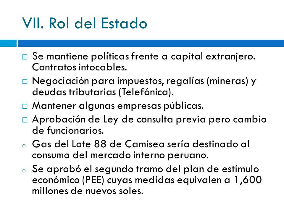 VII. Rol del Estado Se mantiene políticas frente a capital extranjero. Contratos intocables. Negociación para impuestos, regalías (mineras) y deudas t