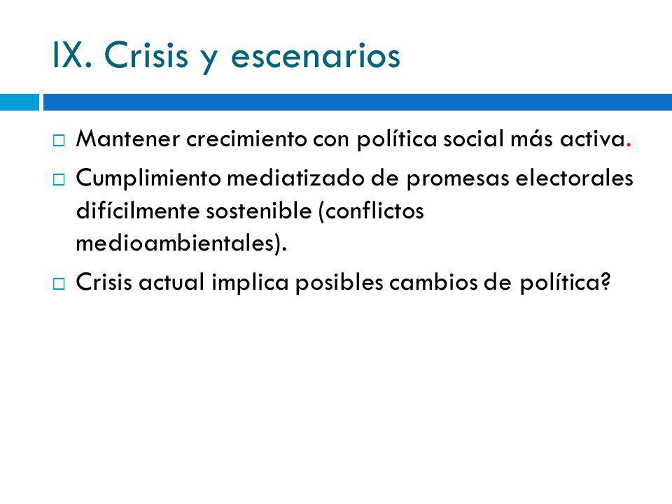 IX. Crisis y escenarios Mantener crecimiento con política social más activa. Cumplimiento mediatizado de promesas electorales difícilmente sostenible