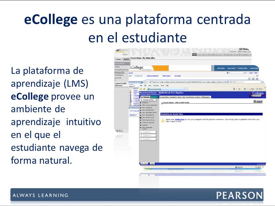 La plataforma de aprendizaje (LMS) eCollege provee un ambiente de aprendizaje intuitivo en el que el estudiante navega de forma natural.