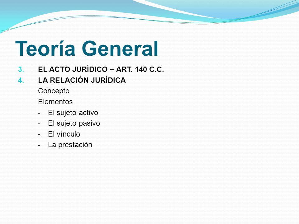 Teoría General 3. EL ACTO JURÍDICO – ART. 140 C.C. 4. LA RELACIÓN JURÍDICA Concepto Elementos -El sujeto activo -El sujeto pasivo -El vínculo -La pres