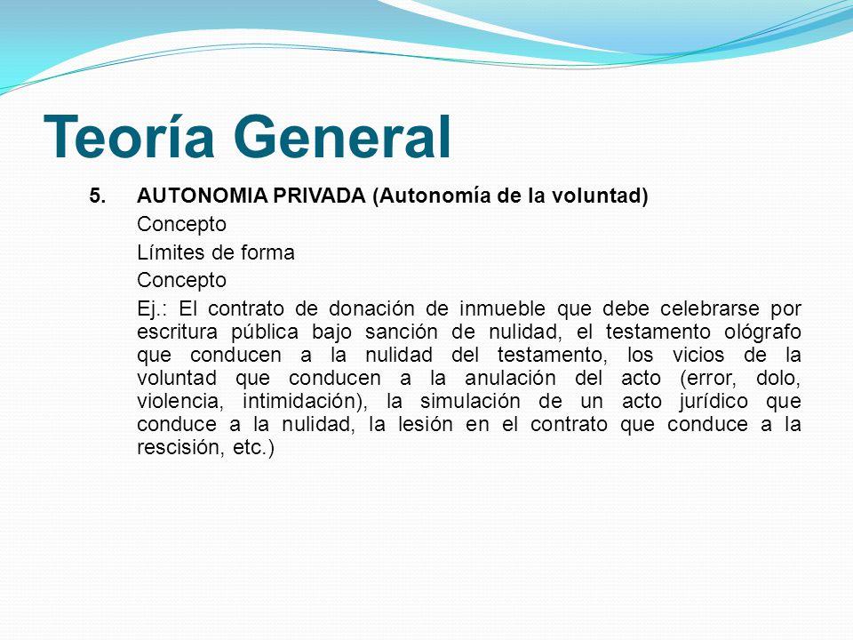 Teoría General 5.AUTONOMIA PRIVADA (Autonomía de la voluntad) Concepto Límites de forma Concepto Ej.: El contrato de donación de inmueble que debe cel