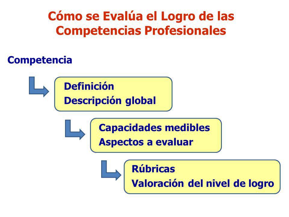 Cómo se Evalúa el Logro de las Competencias Profesionales Competencia Definición Descripción global Capacidades medibles Aspectos a evaluar Rúbricas V