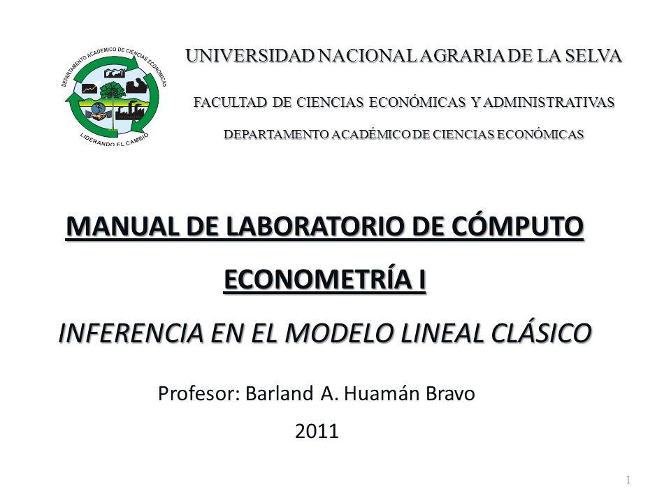 1 MANUAL DE LABORATORIO DE CÓMPUTO ECONOMETRÍA I INFERENCIA EN EL MODELO LINEAL CLÁSICO Profesor: Barland A. Huamán Bravo 2011 UNIVERSIDAD NACIONAL AG