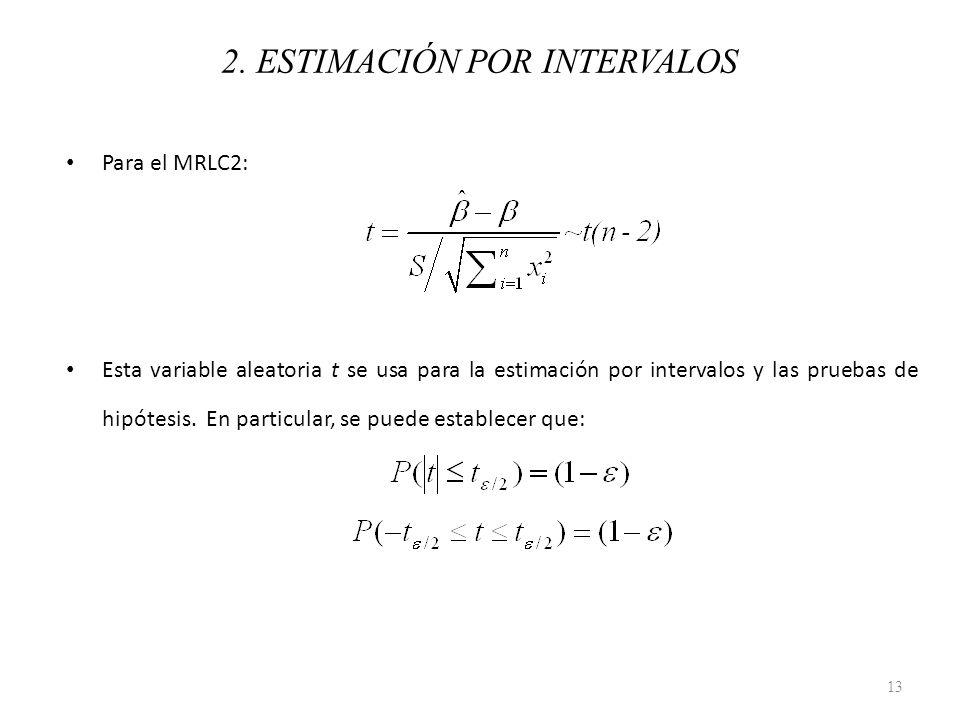 Para el MRLC2: Esta variable aleatoria t se usa para la estimación por intervalos y las pruebas de hipótesis. En particular, se puede establecer que: