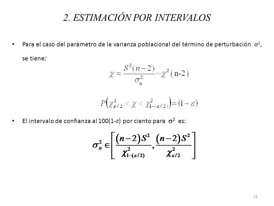 Para el caso del parámetro de la varianza poblacional del término de perturbación 2, se tiene: El intervalo de confianza al 100(1- ) por ciento para e