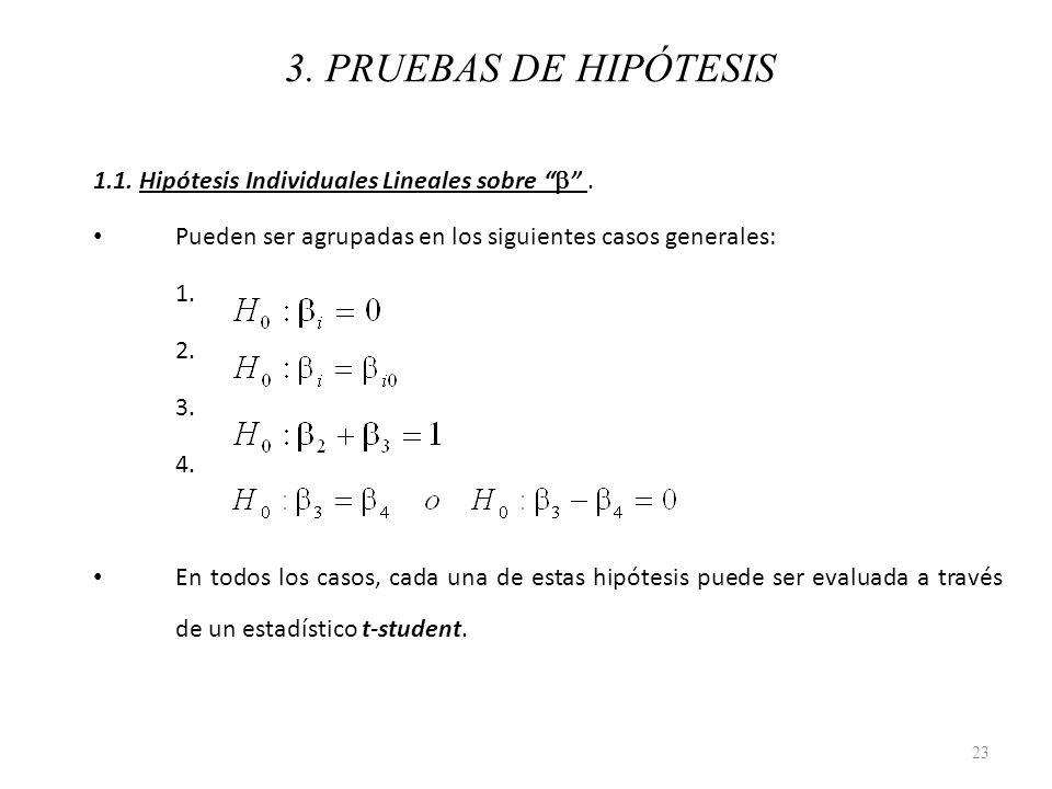 3. PRUEBAS DE HIPÓTESIS 1.1. Hipótesis Individuales Lineales sobre. Pueden ser agrupadas en los siguientes casos generales: 1. 2. 3. 4. En todos los c