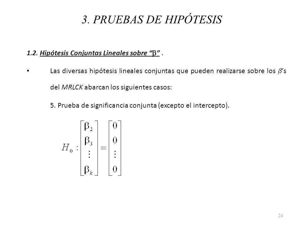 3. PRUEBAS DE HIPÓTESIS 1.2. Hipótesis Conjuntas Lineales sobre. Las diversas hipótesis lineales conjuntas que pueden realizarse sobre los s del MRLCK