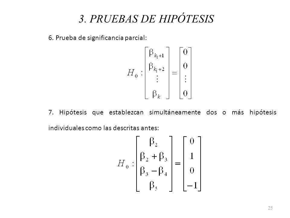 3. PRUEBAS DE HIPÓTESIS 6. Prueba de significancia parcial: 7. Hipótesis que establezcan simultáneamente dos o más hipótesis individuales como las des