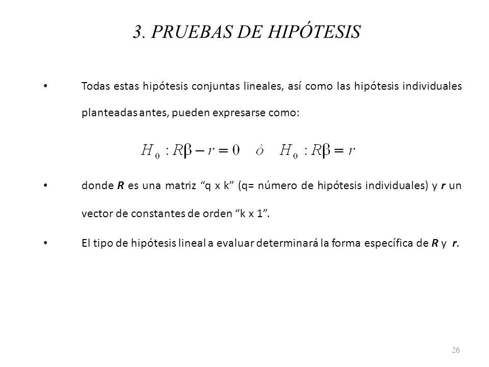 3. PRUEBAS DE HIPÓTESIS Todas estas hipótesis conjuntas lineales, así como las hipótesis individuales planteadas antes, pueden expresarse como: donde