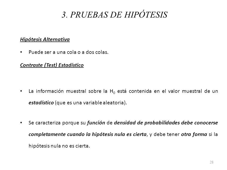 3. PRUEBAS DE HIPÓTESIS Hipótesis Alternativa Puede ser a una cola o a dos colas. Contraste (Test) Estadístico La información muestral sobre la H 0 es