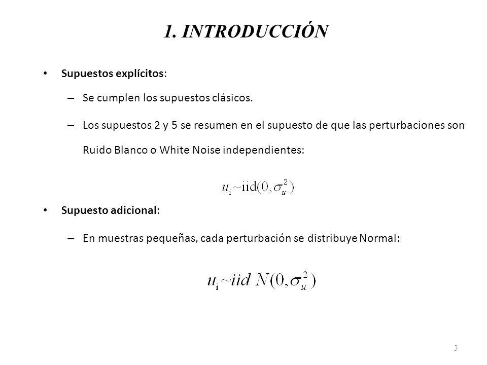1. INTRODUCCIÓN Supuestos explícitos: – Se cumplen los supuestos clásicos. – Los supuestos 2 y 5 se resumen en el supuesto de que las perturbaciones s