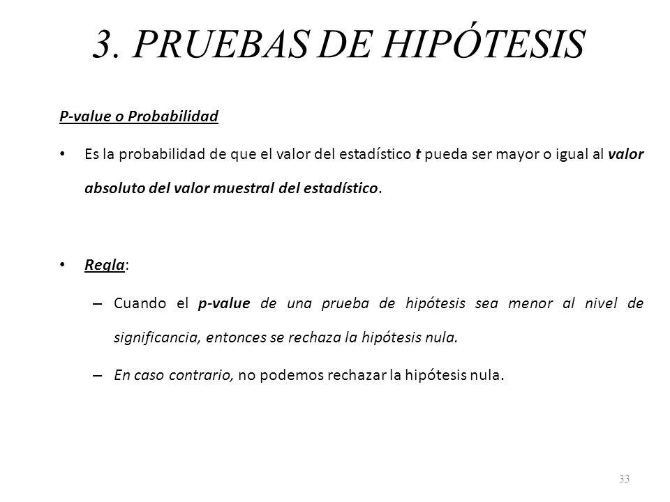 3. PRUEBAS DE HIPÓTESIS P-value o Probabilidad Es la probabilidad de que el valor del estadístico t pueda ser mayor o igual al valor absoluto del valo