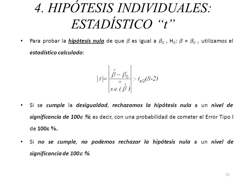 4. HIPÓTESIS INDIVIDUALES: ESTADÍSTICO t Para probar la hipótesis nula de que es igual a, H : =, utilizamos el estadístico calculado: Si se cumple la