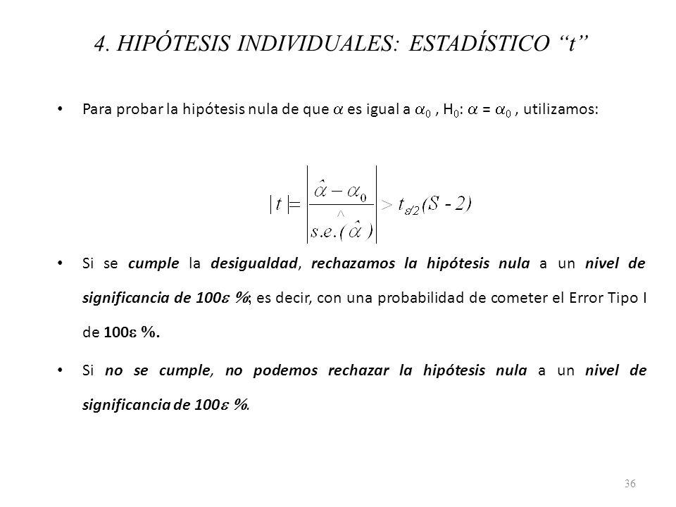 4. HIPÓTESIS INDIVIDUALES: ESTADÍSTICO t Para probar la hipótesis nula de que es igual a, H : =, utilizamos: Si se cumple la desigualdad, rechazamos l