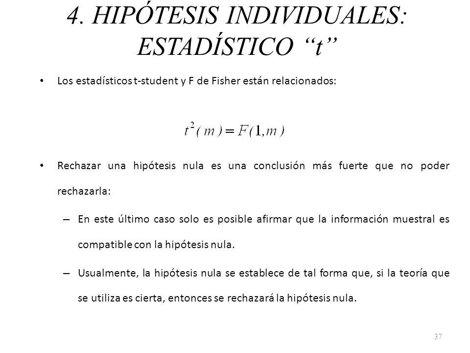 4. HIPÓTESIS INDIVIDUALES: ESTADÍSTICO t Los estadísticos t-student y F de Fisher están relacionados: Rechazar una hipótesis nula es una conclusión má