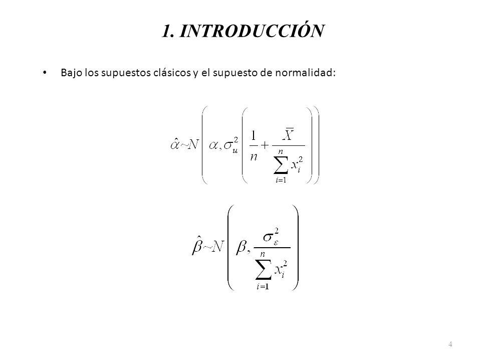 1. INTRODUCCIÓN Bajo los supuestos clásicos y el supuesto de normalidad: 4
